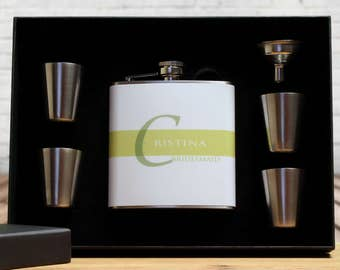 Bridesmaid Gifts, Custom Flask Gift Sets, Green