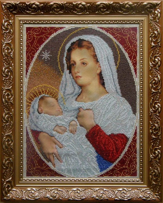 Virgin Mary and Child religious bead embroidery craft kit beaded painting set