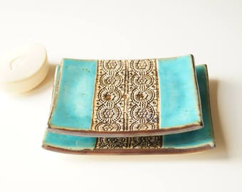 Large Soap Dish, Turquoise Soap Dish, Soap Holder, Ceramic Soap Dish, Bathroom Decor, Ceramics and Pottery, Rectangle Soap Dish