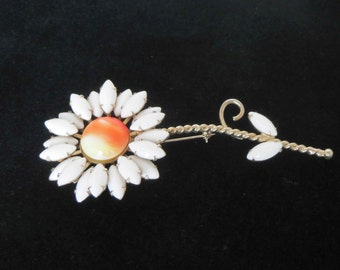 WEISS Large White Floral Brooch - Signed