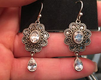 "White Topaz 1.75"" Earrings 925 Sterling Silver, Vintage Style"