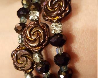 Purple floral crystal rosary bracelet
