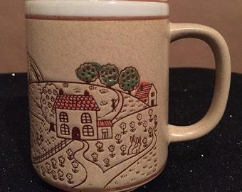 FARM SCENE stoneware vintage mug