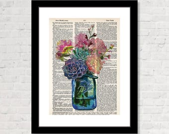 Ball Jar of Flowers and Succulent Plants on Dictionary Page  - Eco Friendly -  Dictionary Print Art - Boho - Farmhouse
