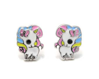 Studs Rainbow Unicorn 925 sterling silver