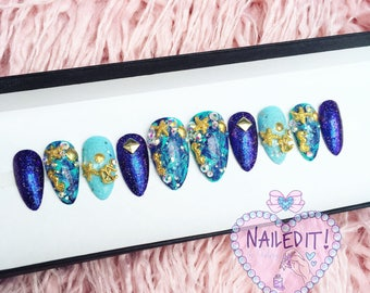 NAILED IT! Hand Painted False Nails - Marble Purple Mermaid