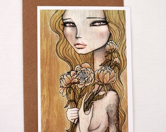 """Postcard; reproductions of my illustration """"Ida"""", with envelope"""