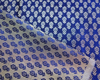 Navy Blue brocade with golden leafy patten fabric