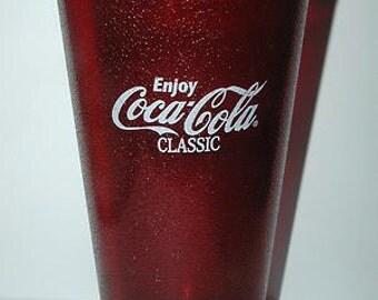 Coca-Cola Classic, Set of 6 Red Restaurant Glasses, UNOPENED, sealed in plastic