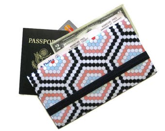 Travel Wallet, Passport and Boarding Pass Holder, Family Ticket Holder for 4 5 6, Long Travel Organizer, Womens Gift (Honeycomb)