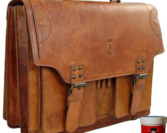Briefcase LINCOLN made of cognac-brown rodeo-leather - BARON of MALTZAHN