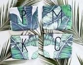 BRIDESMAID gift set/ set of custom makeup bags with monogram/ banana leaf fabric makeup bags/ wedding favors/ tropical print customized bags