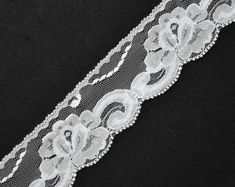 Floral Raschel Lace Trim, 1-3/4 Inch by 2-Yards, STEP-4124