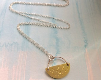 Semi hoop necklace - Geometric Semi Circle Necklace - Brass and Silver Geometric Necklace