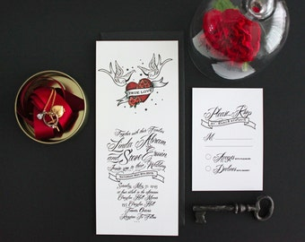 Tattoo Style Wedding Invitations / Modern Wedding Invitation. Rockabilly Invite. Red and White invitations.  Heart and Doves. Rock and Roll.
