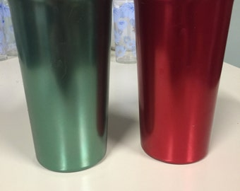 Vintage Color Craft Aluminum/Tin Tumblers Red and Green