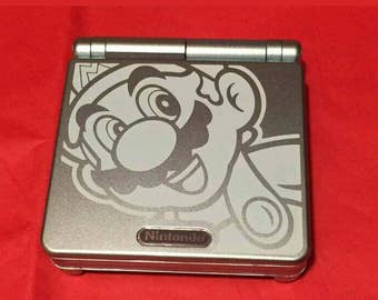 Nintendo Gameboy Advance SP AGS-101 Portable Handheld System Light Blue Mario Theme