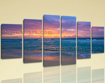 Extra Large Seascape Canvas Art Sunset Hd Print Wall Dining Room 6 Pieces, Extra Large Sunset Wall Art, Dining Room, Endeavour