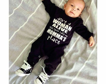 Ain't a woman alive that could take my momma's place, Funny Baby romper, Baby boy romper, Hipster baby boy, Baby boy gift, Baby Boy outfit