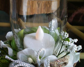 White Floral Candle Holder Arrangement with Battery Candle