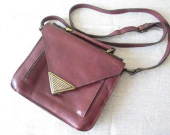 Vintage Leather Handbag Genuine Leather Dark Brown Shoulder Bag with Long Strap, 4 inner compartments @203
