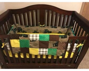 John Deere Tractor Baby Crib Bedding Bumper Set