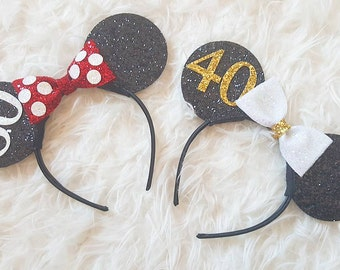 Custom Minnie Mouse Ears | Minnie Mouse | Minnie Birthday | 60th Birthday | 40th Birthday | Birthday Ears | Ears | Mouse Ears