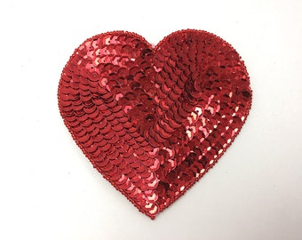 """Choice of Size Red Heart Applique, Sequin Beaded, 4"""", 5"""" or 6""""  -M1397"""