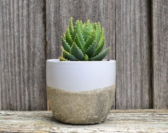 White Ceramic Planter with Taupe Dipped Textured Base