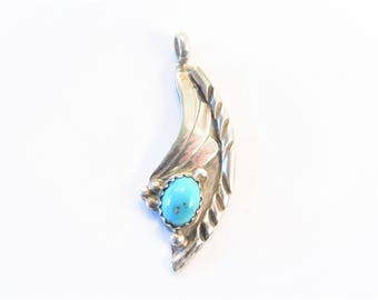 Vintage Southwestern Sterling Turquoise Pendant