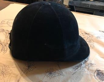 Vintage Riding Hunting Helmet / Black Velvet 1940s-50s ?