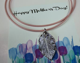Silver Rose Leaf Necklace/Genuine Rose Leaf Necklace/Mother's Day Gift/Real Leaf Jewelry/Silver Rose Leaf on Leather Cord
