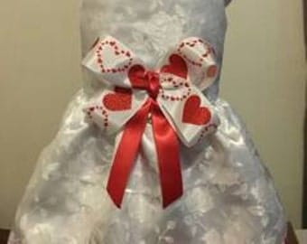 Valentine's day white/red Jacquard Brocade dog dress, Harness, tutu  Pet Apparel, Wedding, Flower girl, Pageant