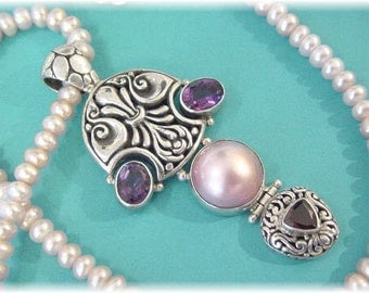 """Sterling Silver - Amethyst Garnet Pink Pearl Celtic 2 3/4"""" Pendant - Pink Pearl 20"""" Necklace - Artisan 925 - Perfect Gift - FREE SHIPPING"""