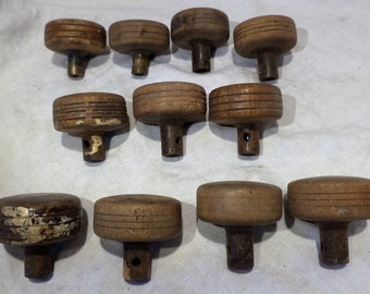 Set of 11 Vintage Wood and Brass Doorknobs, Architectural Salvage
