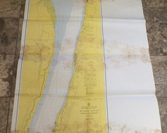Hudson River Map, New York Map, Maritime Soundings Map, Yonkers To Piermont, Vintage Shore Maps