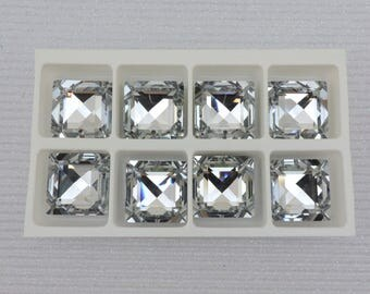 Vintage SWAROVSKI® Crystal SQUARE Article# 6414 25mm Faceted Square Pendants, Comet Argent Light, Crystal Square Pendant