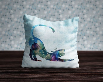 Cat Pillow, Cat Cushion, Cat Pillow Case, Cat Cushion Cover, Cat Home Decor, Cat Bedding, Watercolor Cat, Bedroom Decor, Cat Lover Gift