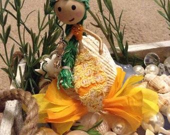 """Handmade Mermaid """"Yellow and orange fin"""""""