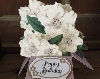 Birthday Card, Unique 3D Box Cards, Floral Pop-up card, Azaleas, Handmade Greeting Card, Flower Bouquets