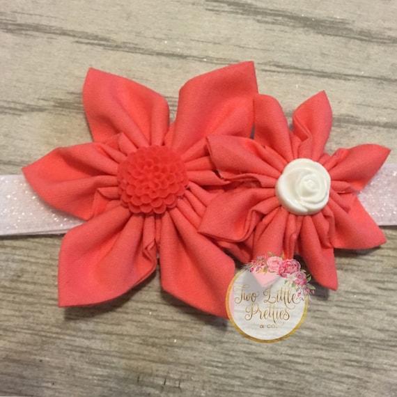 Double fabric flower headband | baby girl | hand sewn