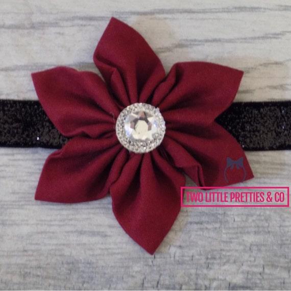 Large Burgundy/Maroon Fabric Flower Headband | Baby Girl | Hand Sewn