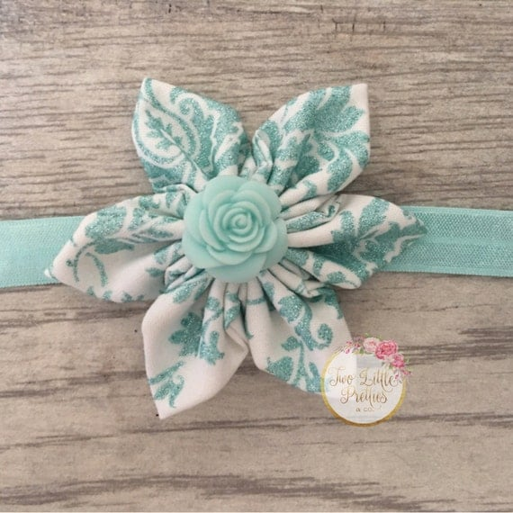 Large aqua glitter floral fabric flower headband | baby girl | hand sewn