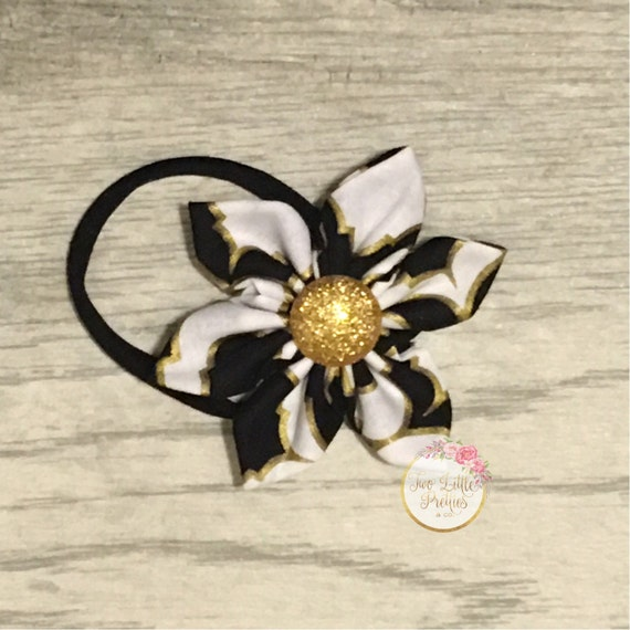 Black, White and Gold lining fabric flower headband | baby girl | hand sewn
