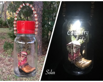 Mason Jars. Solar Lanterns. Cowboy Boot. Etched Engraved Glass Cowboy  Solar Light For Garden. Front Door Decoration. Gift For Grandparents
