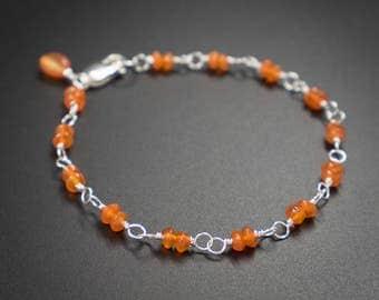 Carnelian bracelet, carnelian sterling silver handmade semiprecious stone link bracelet stacking bracelet burnt orange silver bracelet