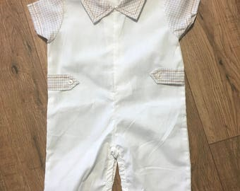 Vintage Cradle Togs Baby Outfit, infant baby boy one piece outfit, cream colored with plaid accents, 0-6 months, snap crotch