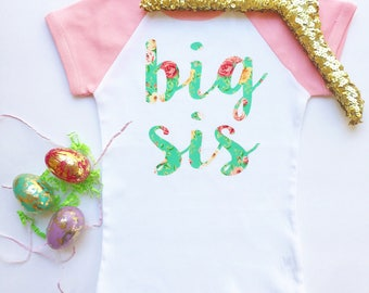 "sweet sprouts girl ""big sis"" floral chic big sister raglan shirt baby announcement"