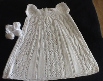 Hand Knit Christening Gown & Booties