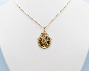 Antique 5.00 Dollar Genuine Gold Coin Necklace - J36277